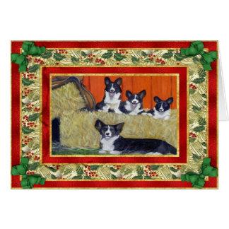 Carte de Noël de blanc de chien de corgi de