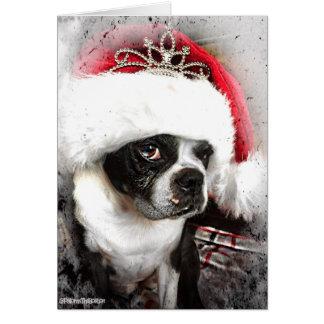 Carte de Noël de Boston Terrier