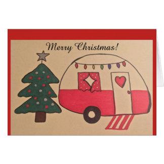 Carte de Noël de campeur