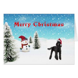 Carte de Noël de caniche