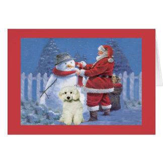 Carte de Noël de caniche Père Noël et bonhomme de