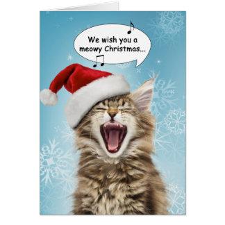 Carte Carte de Noël de chat de chant