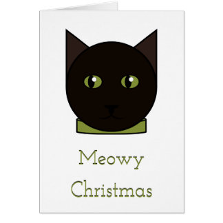 Carte de Noël de chat noir de bande dessinée