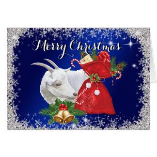 Carte de Noël de chèvre de Saanen de Joyeux Noël