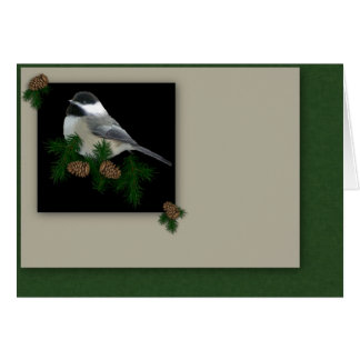 Carte de Noël de Chickadee (gros caractères)
