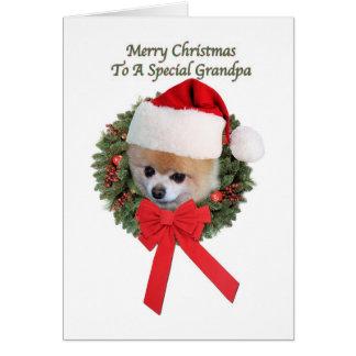 Carte de Noël de chien de Pomeranian du grand-papa