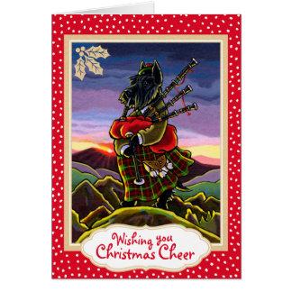 Carte de Noël de cornemuses de Terrier d'écossais