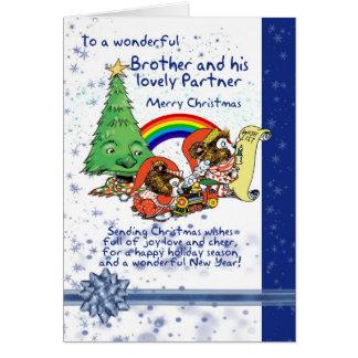 Carte de Noël de frère et d'associé avec des elfes