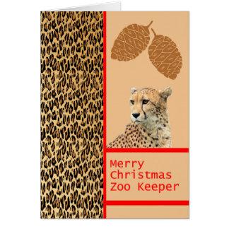 Carte de Noël de gardien de zoo de guépard