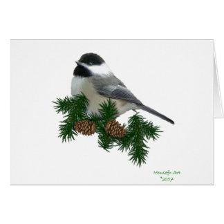 Carte de Noël de gros caractères de Chickadee