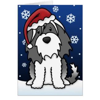 Carte de Noël de Kawaii Terrier tibétain