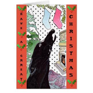 Carte de Noël de lévrier (a32)