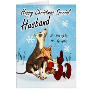 Carte de Noël de mari mignonne, chien de chant et
