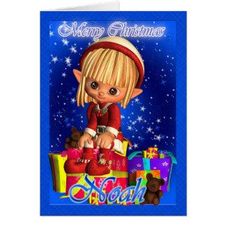 Carte de Noël de Noé avec petit Elf mignon