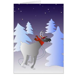 Carte de Noël de patinage de renne