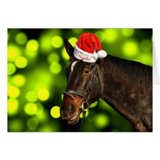Carte de Noël de Père Noël de cheval