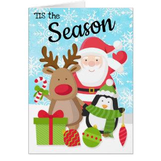 Carte de Noël de Père Noël, de renne et de