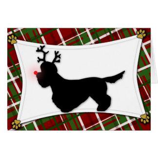 Carte de Noël de renne de Dandie Dinmont Terrier
