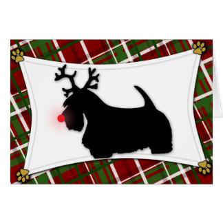 Carte de Noël de renne de Terrier d'écossais