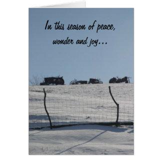 Carte de Noël de scène de neige de tracteur
