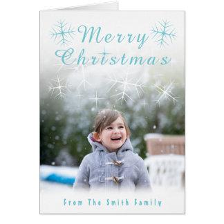 Carte de Noël de scintillement de flocon de neige