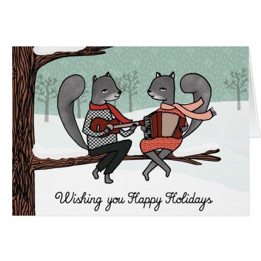 Carte de Noël d'écureuils