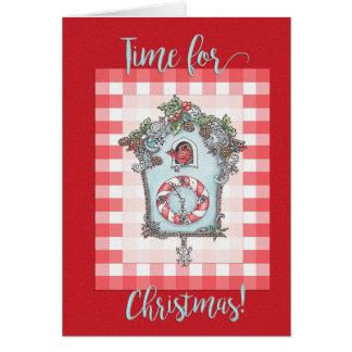 Carte de Noël d'horloge de coucou