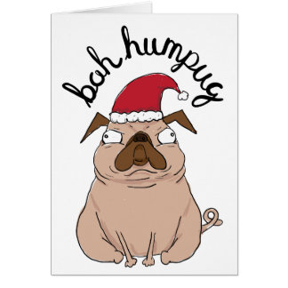 Carte de Noël drôle de carlin de Bah Humpug Père