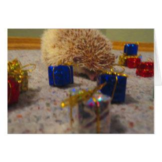 Carte de Noël drôle de hérisson d'emballage cadeau