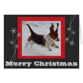 Carte de Noël drôle et mignonne w/Jumping Basset