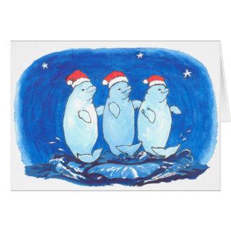 Carte de Noël drôle lunatique de baleine de beluga