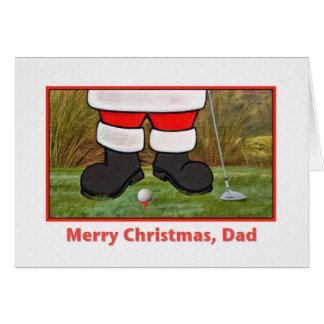 Carte de Noël du papa avec jouer au golf Père Noël