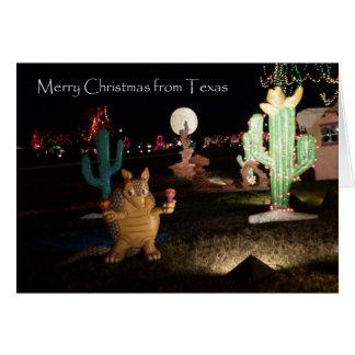 Carte de Noël du Texas -- Tatou et cactus