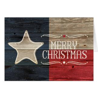 Carte de Noël en bois affligée de drapeau du Texas