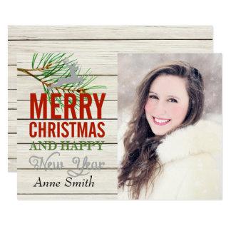 Carte de Noël en bois rustique de photo de pays