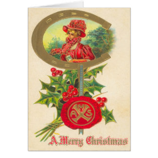 Carte de Noël en fer à cheval chanceuse vintage