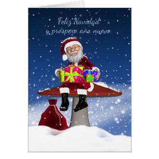 Carte de Noël espagnole d'amusement avec Père Noël