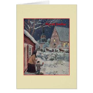 Carte de Noël finlandaise vintage de Hyvää Joulua