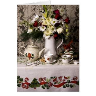 Carte de Noël florale de la vie heure du thé 2209
