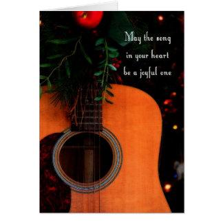 Carte de Noël joyeuse de guitare acoustique de