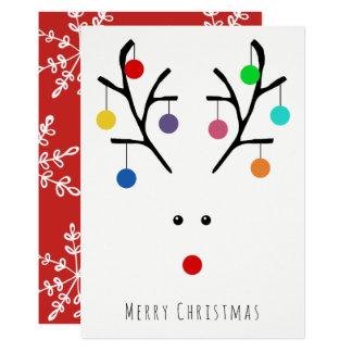 Carte de Noël lunatique de renne de vacances