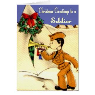 Carte de Noël militaire vintage