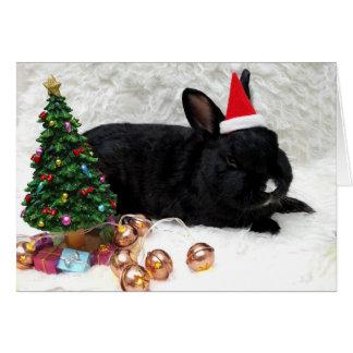 Carte de Noël noire de lapin