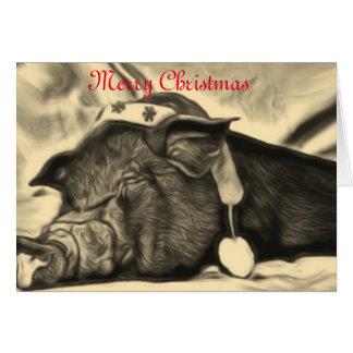 Carte Carte de Noël paisible de porc