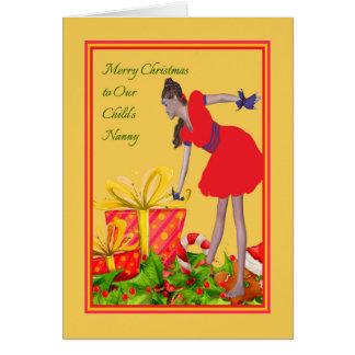 Carte de Noël pour la bonne d'enfants