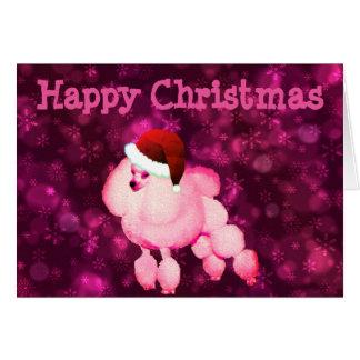 Carte de Noël rose personnalisée de caniche