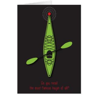 Carte de Noël rouge de nez de kayak