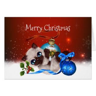 Carte de Noël siamoise de chaton