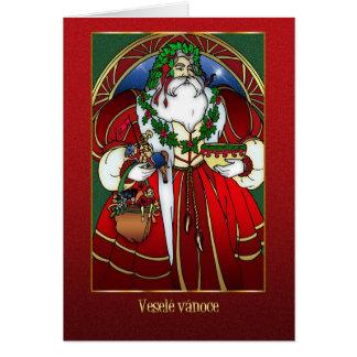 Carte de Noël tchèque - le père noël - rouge et or