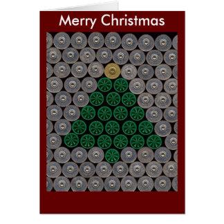 Carte de Noël verte d'arbre de coquille de fusil